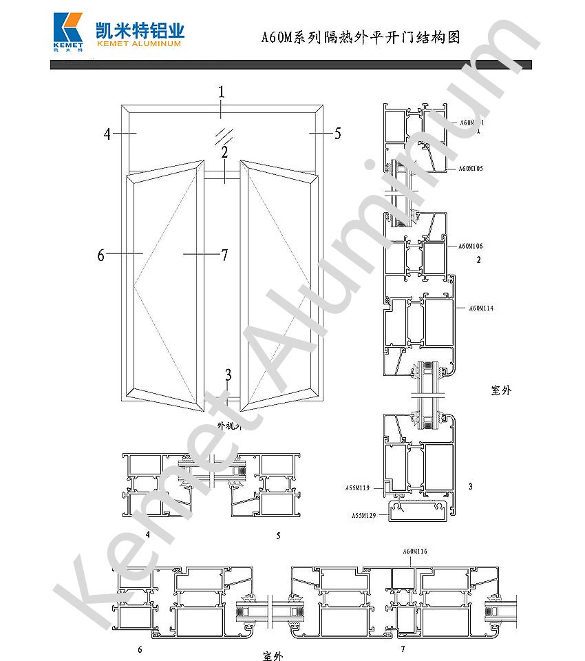 A60M Heat Insulation Inward Casement Door