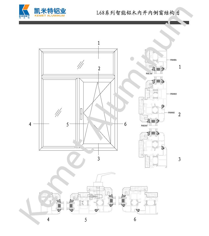 L68 Intelligent Aluminum-wood Inward Tilt-turn Window